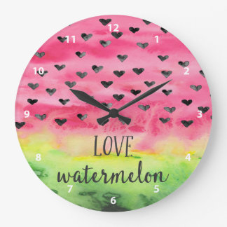 Watercolor Love Watermelon Hearts Wallclock
