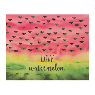 Watercolor Love Watermelon Hearts Wood Print