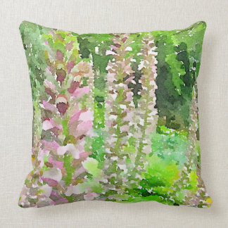 Watercolor Lupine Flowers Tree Park Bench Garden Cushion