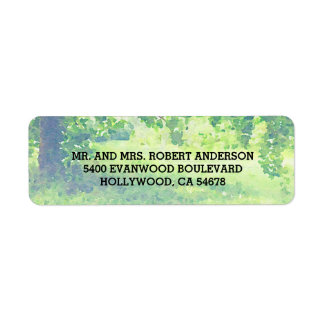 Watercolor Lush Meadow and Tree Address Label