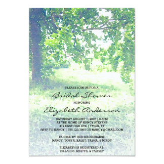 Watercolor Lush Meadow and Tree Bridal Shower Card