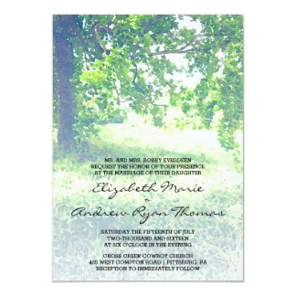 Watercolor Lush Meadow and Tree Wedding Invitation