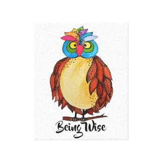 Watercolor Magical Owl With Rainbow Feathers Canvas Print
