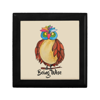 Watercolor Magical Owl With Rainbow Feathers Gift Box