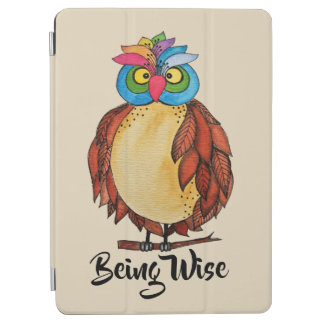 Watercolor Magical Owl With Rainbow Feathers iPad Air Cover