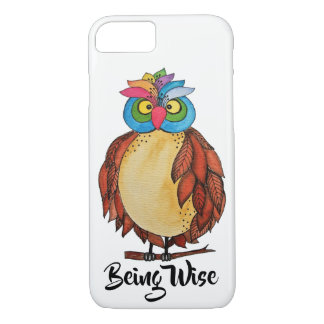 Watercolor Magical Owl With Rainbow Feathers iPhone 8/7 Case