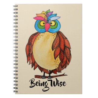 Watercolor Magical Owl With Rainbow Feathers Notebook