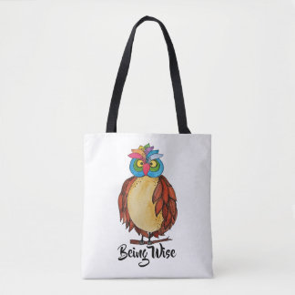Watercolor Magical Owl With Rainbow Feathers Tote Bag