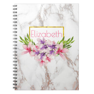 Watercolor Magnolia Florals on White Marble Notebook