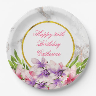 Watercolor Magnolias, Faux Marble Texture Birthday Paper Plate