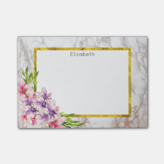 Watercolor Magnolias, Faux Marble Texture Custom Post-it Notes