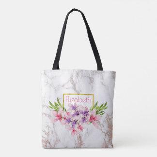 Watercolor Magnolias, Faux Marble Texture Custom Tote Bag