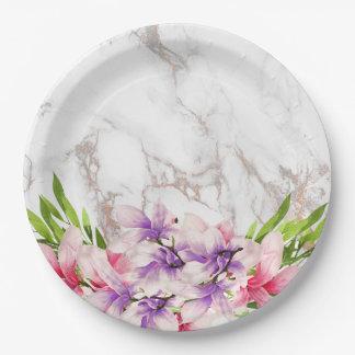 Watercolor Magnolias, Faux Marble Texture Paper Plate