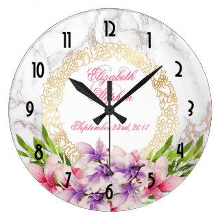 Watercolor Magnolias, Faux Marble Texture Wedding Large Clock
