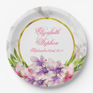 Watercolor Magnolias, Faux Marble Texture Wedding Paper Plate