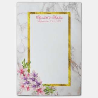 Watercolor Magnolias, Faux Marble Texture Wedding Post-it Notes
