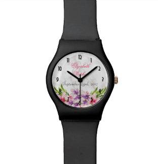 Watercolor Magnolias, Faux Marble Texture Wedding Watch