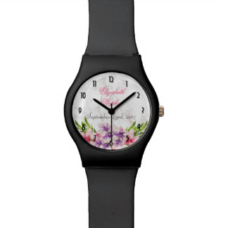 Watercolor Magnolias, Faux Marble Texture Wedding Wrist Watches