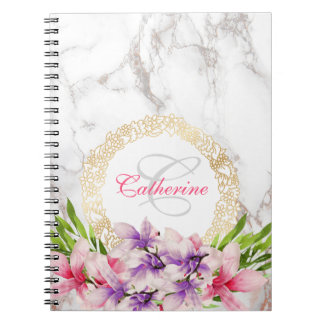 Watercolor Magnolias on Faux Marble Texture Spiral Note Book