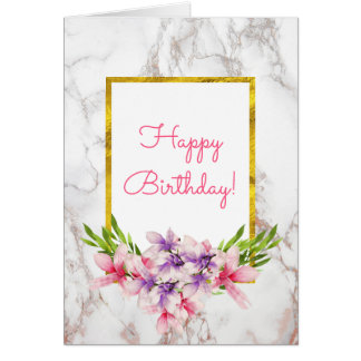 Watercolor Magnolias, White Marble Design Birthda Card