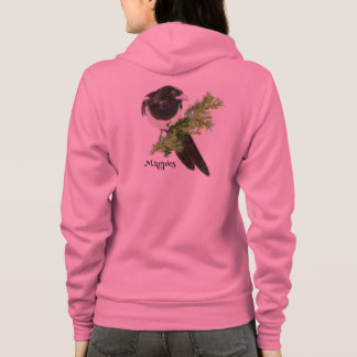 Watercolor Magpie Bird Nature Art Hoodie