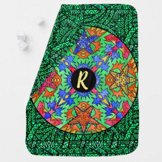 Watercolor Mandala Custom Monogram Customize Baby Blanket