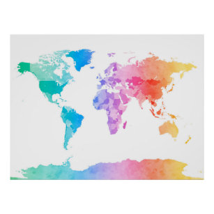 World map posters posters photo prints zazzle au watercolor map of the world map poster gumiabroncs Images