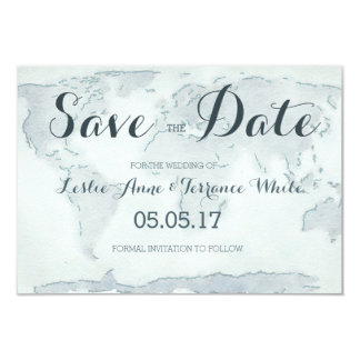 Watercolor map Save the Date Card