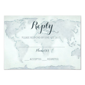 Watercolor map wedding reply card