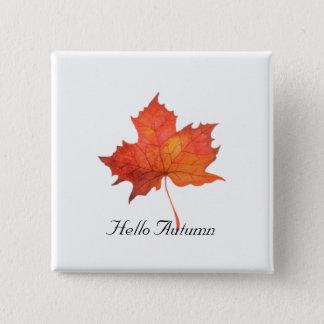 Watercolor Maple Leaf 15 Cm Square Badge