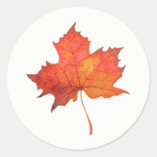 Watercolor Maple Leaf Classic Round Sticker