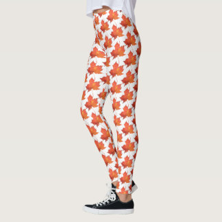 Watercolor Maple Leaf Leggings