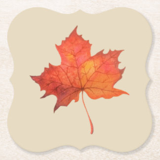 Watercolor Maple Leaf Paper Coaster