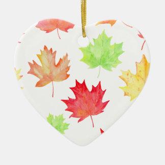Watercolor Maple Leaf Pattern Ceramic Heart Decoration
