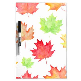 Watercolor Maple Leaf Pattern Dry Erase Board