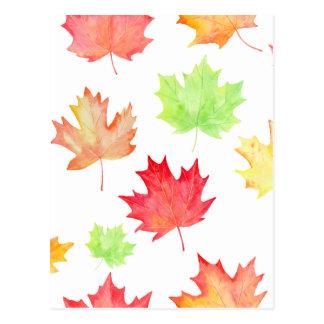 Watercolor Maple Leaf Pattern Postcard