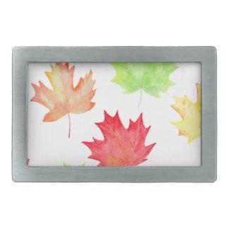 Watercolor Maple Leaf Pattern Rectangular Belt Buckle