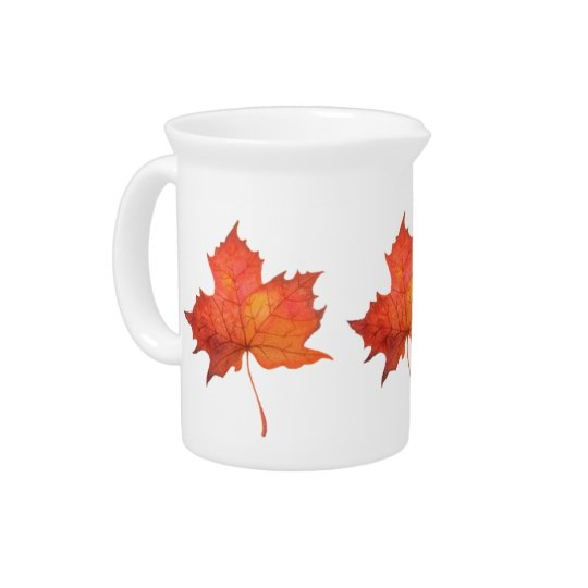 Watercolor Maple Leaf Pitcher