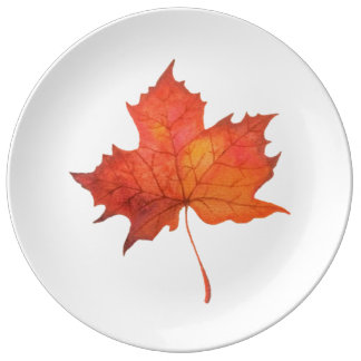 Watercolor Maple Leaf Plate