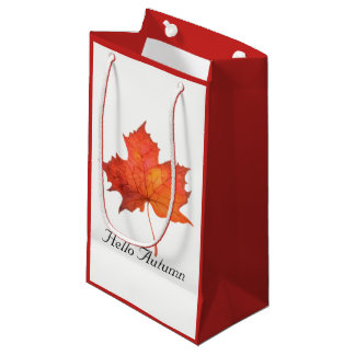 Watercolor Maple Leaf Small Gift Bag