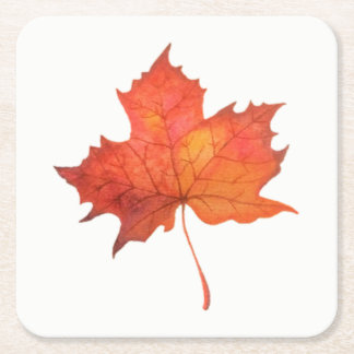 Watercolor Maple Leaf Square Paper Coaster