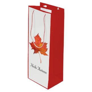 Watercolor Maple Leaf Wine Gift Bag