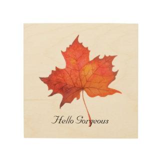 Watercolor Maple Leaf Wood Print
