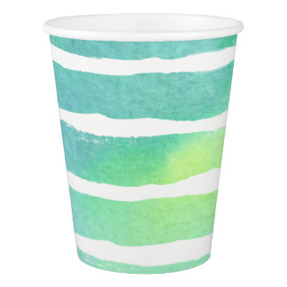 Watercolor Marine Greens  Striped Paper Cup