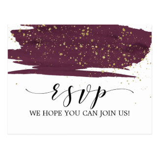 Watercolor Marsala and Gold Menu Choice RSVP Postcard