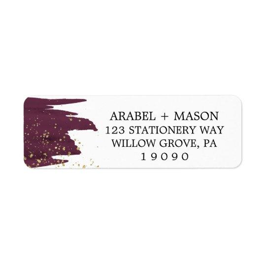 Watercolor Marsala and Gold Sparkle Wedding Return Address Label