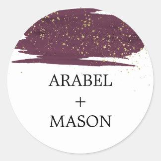 Watercolor Marsala and Gold Wedding Envelope Seal