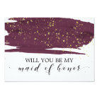 Watercolor Marsala Will You Be My Maid Of Honour Card