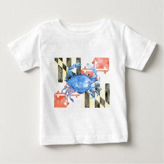 Watercolor maryland flag and blue crab baby T-Shirt