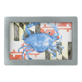 Watercolor maryland flag and blue crab belt buckle